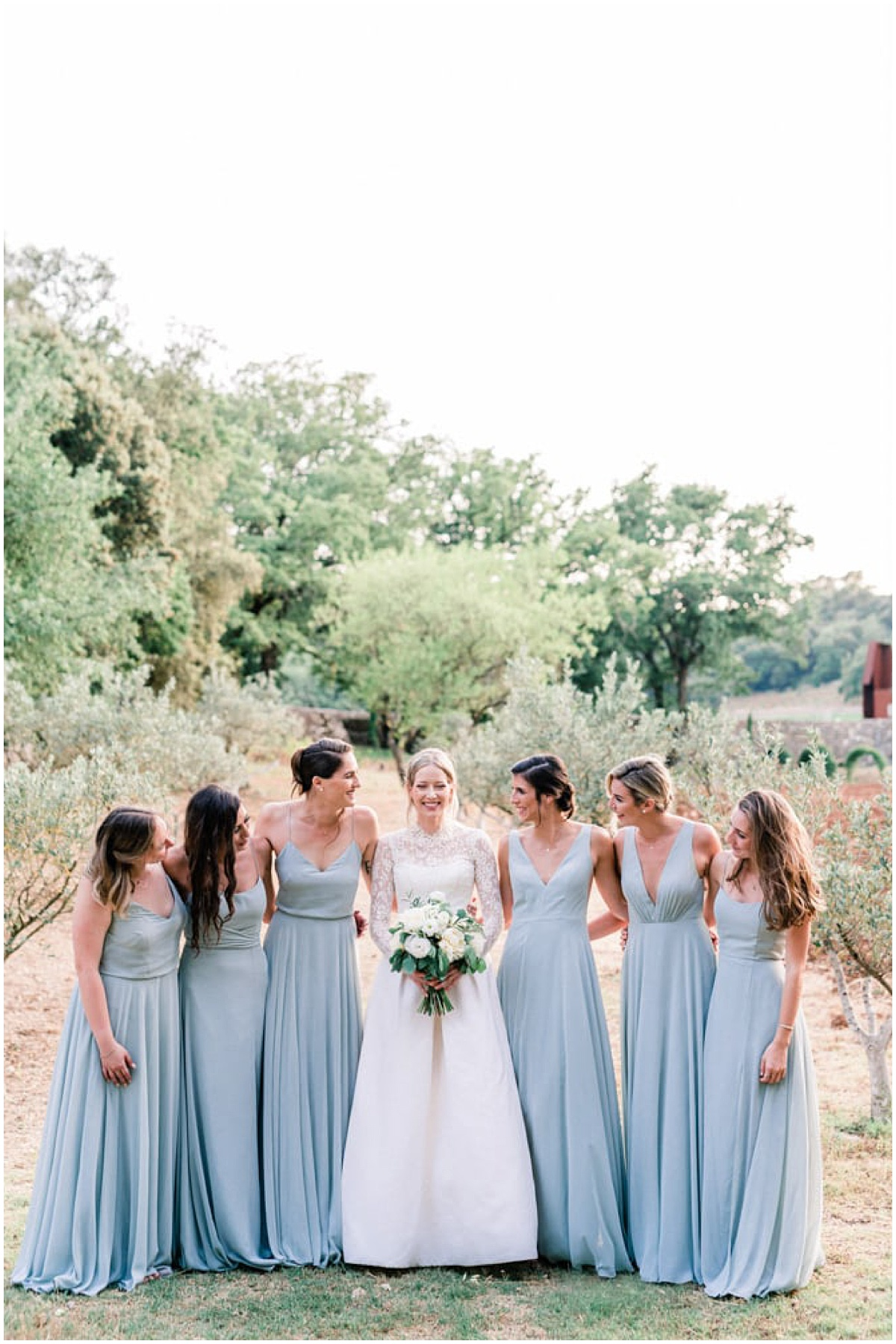 fine art wedding bride and bridesmaids