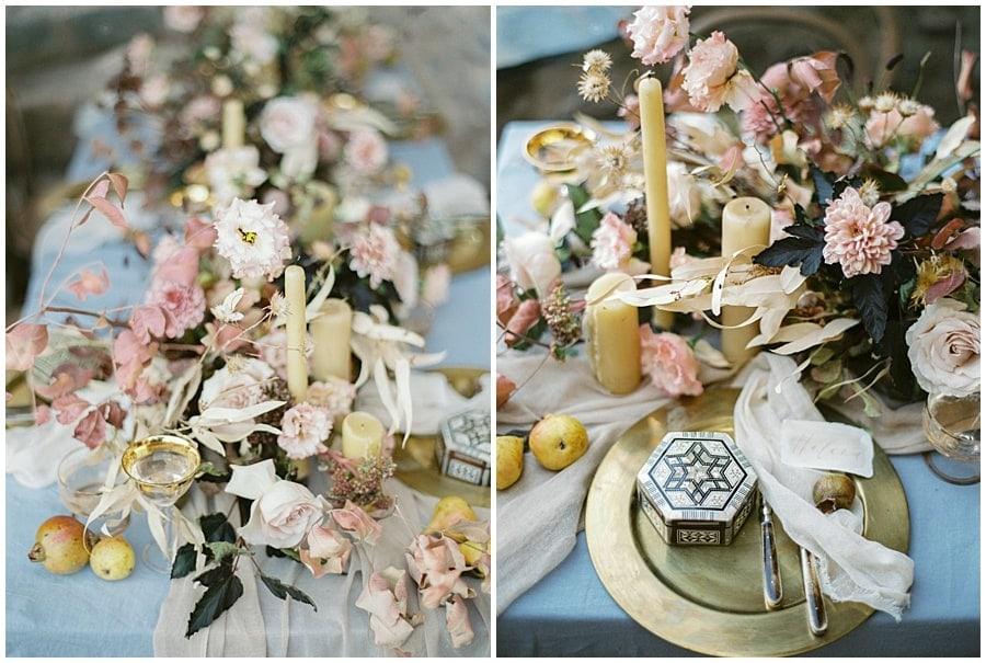 Stinning autumnal decoration table Destination wedding photographer Monemvasia Greece