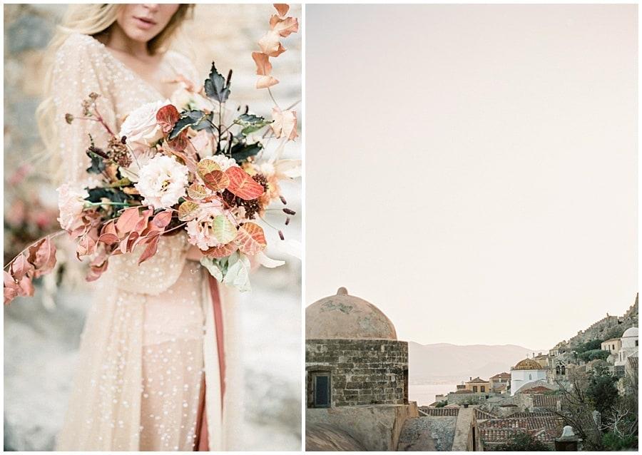 Bride and flowers Destination wedding photographer Monemvasia Greece